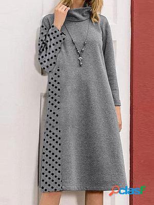 Polka dot print stitching casual loose shift dress