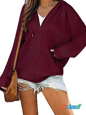 Zipper casual long sleeve hooded sweater jacket