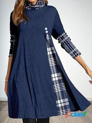 Fashion plaid print stack neck long sleeve casual shift dress