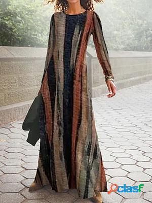 Round neck stripe print fashion long sleeve casual maxi dress