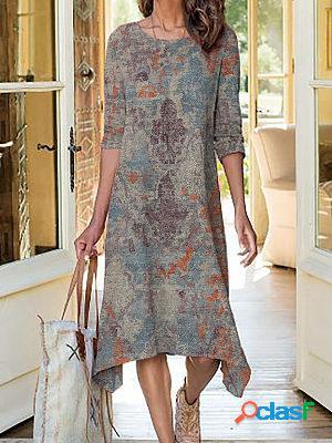 Retro print round neck long sleeve maxi dress