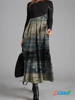 Vintage print v-neck long-sleeved maxi dress