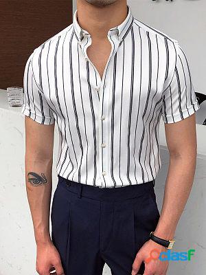 Gentleman elegant and simple design vertical striped shirt