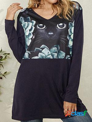 Cat print fashion long sleeve casual hoodie