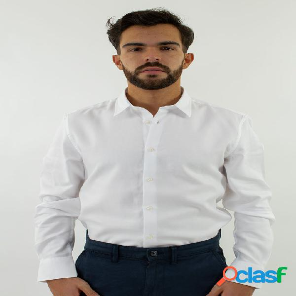 Shirt slim with piping in white