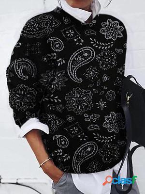 Casual print crew neck long sleeves sweatshirt