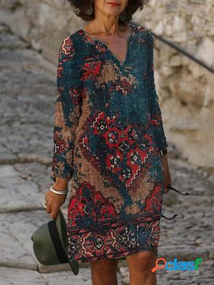 Casual vintage geo print v-neck long sleeve midi dress women