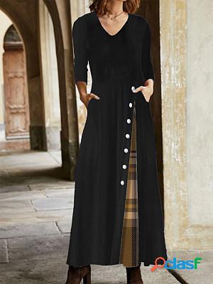 Casual plaid print long sleeves maxi dress