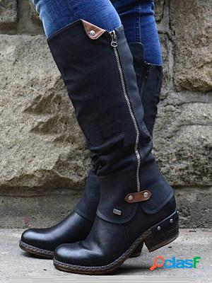 Ladies casual leather boots fashion retro high riding boots