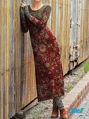 Fashion retro print round neck long sleeve casual maxi dress