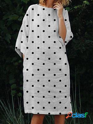 Polka dot print casual long-sleeved maxi dress