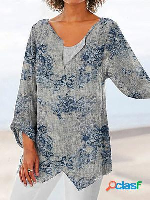 Retro print round neck long sleeve blouse