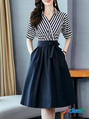 Temperament slim striped shirt skater dress