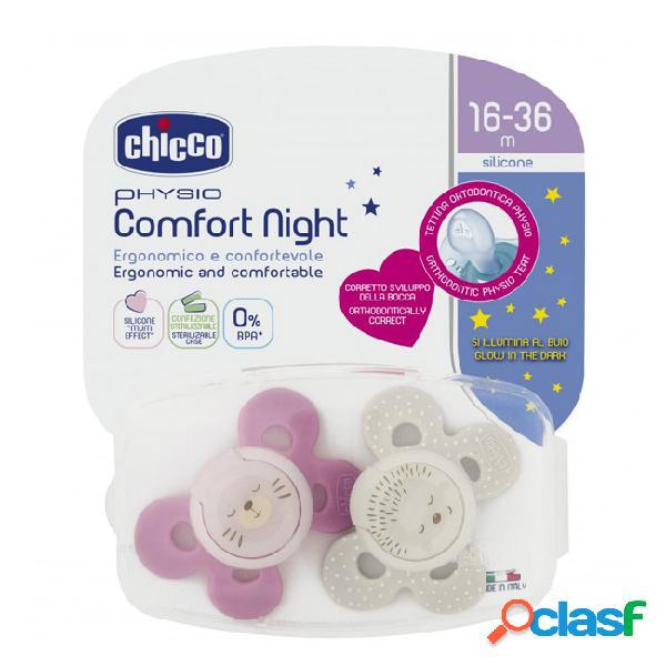 Chicco physio comfort night chupeta silicone girl 16-36m 2unid.