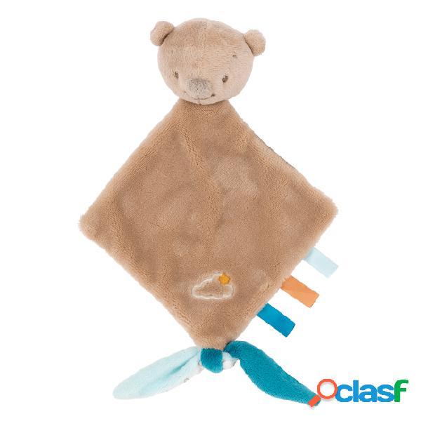 Nattou mia & basile doudou pequeno urso castanho basile
