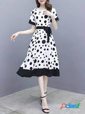 Polka dot dress new round slim long dress
