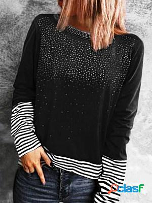 Casual print crew neck long sleeves t-shirt
