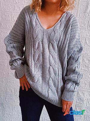 Fall/winter loose deep v-neck coarse twist drop-shoulder sleeve knitted sweater