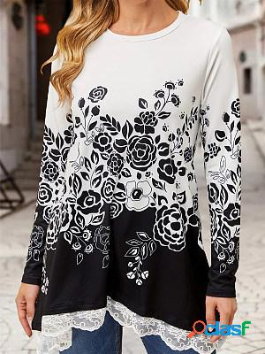 Ladies round neck flower print lace patchwork long sleeve t-shirt