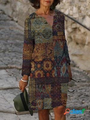 Casual vintage print v-neck long sleeve midi dress women