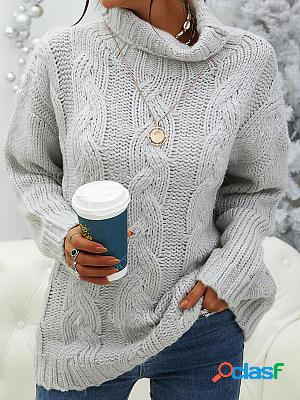 Plain loose turtleneck knitted sweater