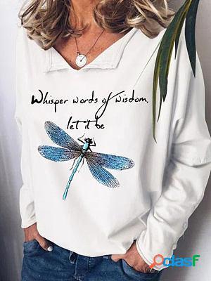 Casual dragonfly print lapel long sleeve casual sweatshirt