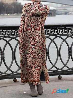 Casual floral print high neck long sleeves maxi dress