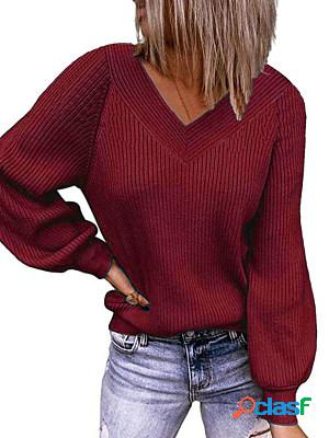 Autumn and winter solid color loose v-neck pullover knitted sweater