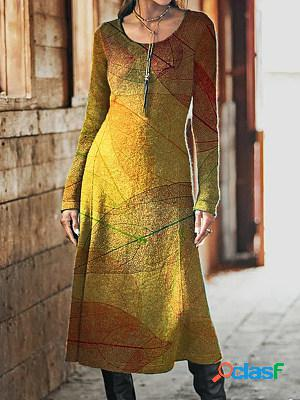 Casual leaf print crew neck long sleeves maxi dress
