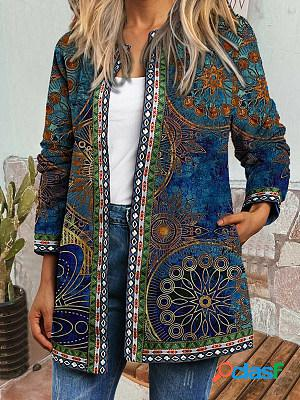Ladies retro print casual jacket