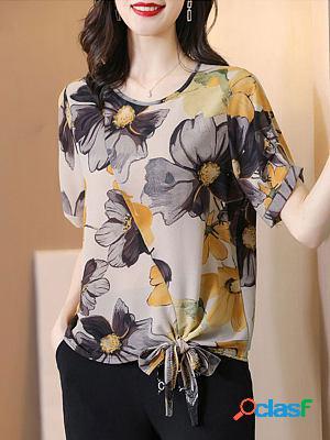 Fashion printed slim chiffon shirt