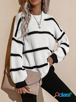 Round neck retro loose striped pullover knitted sweater