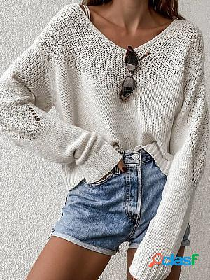 Autumn and winter loose solid color knitted sweater