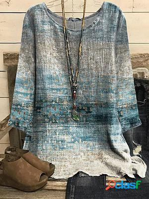 Round neck retro print loose casual long sleeve blouse