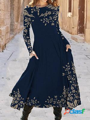 Casual floral print crew neck long sleeves maxi dress