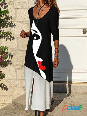 Fashion abstract face print round neck long sleeve casual maxi dress
