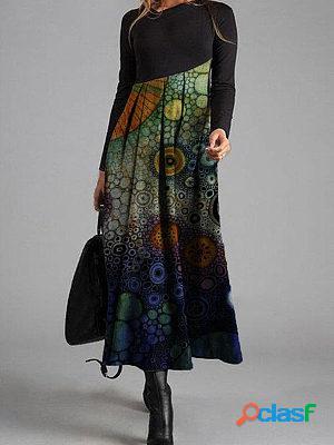 Retro polka dot print casual long sleeve maxi dress