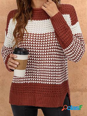 Round neck long sleeve loose knitted sweater