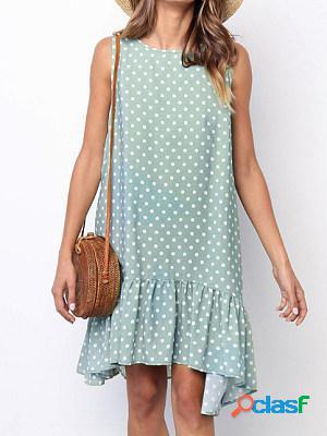 Polka dot round neck sleeveless loose ruffle dress