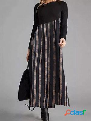Casual print crew neck long sleeves maxi dress