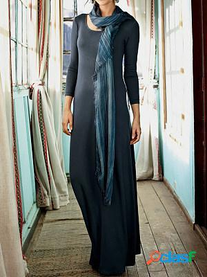 Casual solid color crew neck long sleeves maxi dress