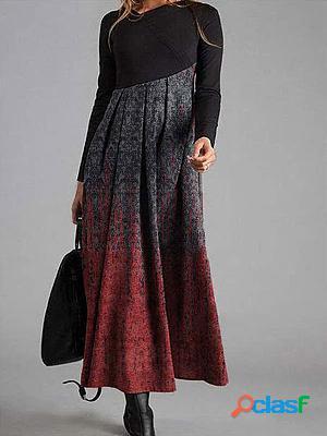 Retro print fashion round neck long sleeve casual maxi dress