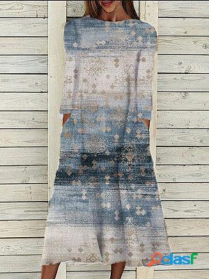 Round neck retro print long sleeve maxi dress