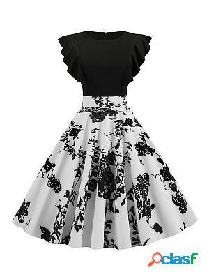 Polka dot printed flying sleeve retro big sleeve dress