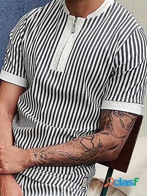 Striped zipped polo shirt