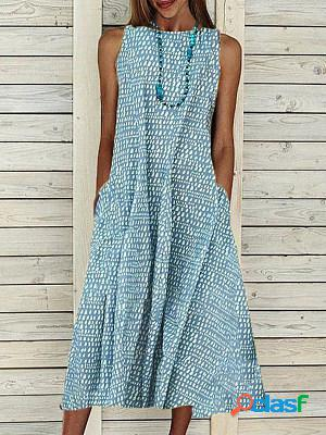 Ladies cotton casual polka dot printing maxi dress