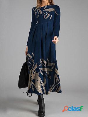 Casual leaf print long sleeved maxi dress women