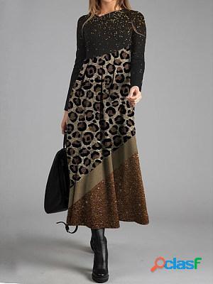 Casual leopard print long sleeved maxi dress women