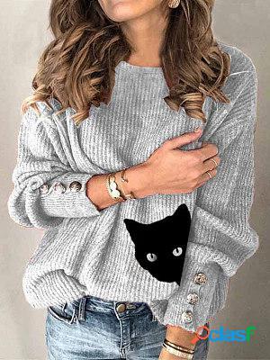 Button cat print casual crew neck sweater