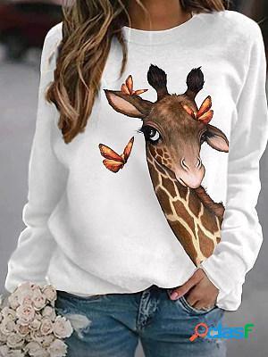 Casual Giraffe Print Crew Neck Sweatshirt